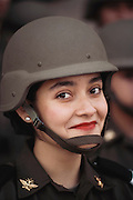 A woman soldier in the May 1 Worker's Day parade in the Zocolo. Mexico City, Mexico.