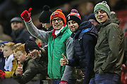 Lincoln City fans smile ahead of the EFL Sky Bet League 1 match between Lincoln City and Rotherham United at Sincil Bank, Lincoln, United Kingdom on 7 February 2020.
