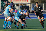 Saracens scrum-half Tom Whitely (9) tackled by Worcester Warriors tighthead prop Simon Kerrod (3) during the Premiership Rugby Cup match between Saracens and Worcester Warriors at Allianz Park, Hendon, United Kingdom on 11 November 2018.