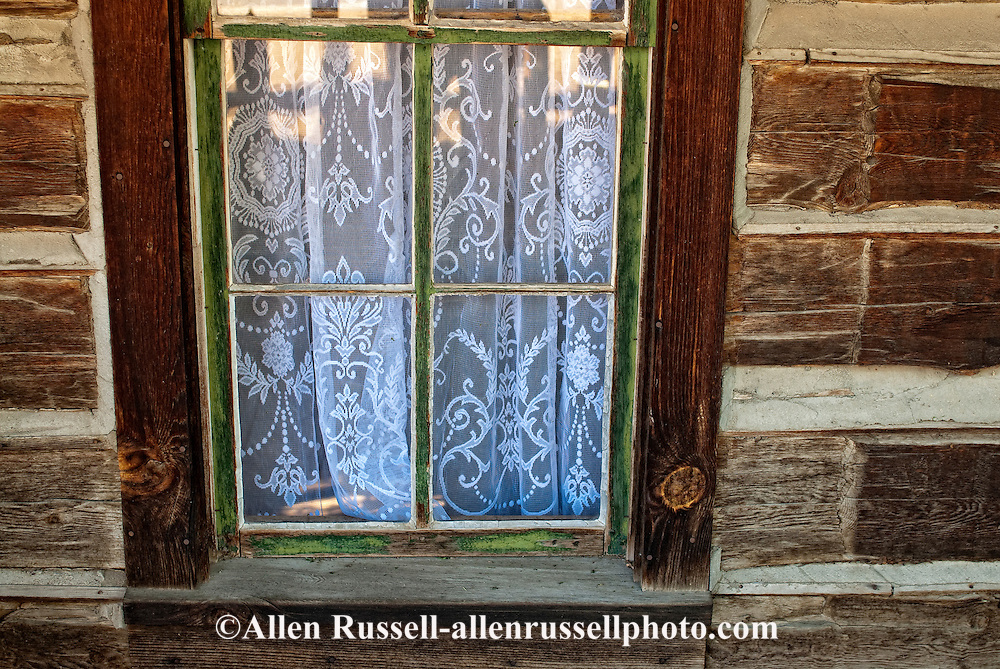 Nevada City, Montana, restored mining town, hotel window,  crochet curtains