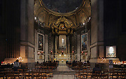 Chapelle de la Sainte Vierge, or Chapel of the Madonna, originally built in the 17th century and rebuilt by Giovanni Niccolo Servandoni or Jean-Nicolas Servan, in Baroque style in 1729 with design by Charles de Wailly in 1774, in the church of Saint-Sulpice, built 1646-1870, in the 6th arrondissement of Paris, France. The white marble statue of the Virgin is by Jean-Baptiste Pigalle, 1714-85, the stucco decoration surrounding it is by Louis-Philippe Mouchy and the fresco in the dome of the Assumption of Mary, 1734, is by Francois Lemoyne. Picture by Manuel Cohen