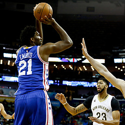 Dec 8, 2016; New Orleans, LA, USA;  Philadelphia 76ers center Joel Embiid (21) shoots over New Orleans Pelicans center Omer Asik (3) during the second quarter of a game at the Smoothie King Center. Mandatory Credit: Derick E. Hingle-USA TODAY Sports