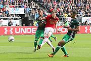 Renato Tapia of Feyenoord, Wout Weghorst of AZ Alkmaar, Sofyan Amrabat of Feyenoord