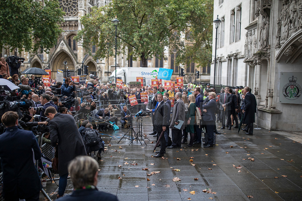 © Licensed to London News Pictures. 24/09/2019. London, UK. Gina Miller speaks to the media outside the Supreme Court in London after judges ruled that Prime Minister Boris Johnson's suspension of Parliament was unlawful. Photo credit: Rob Pinney/LNP