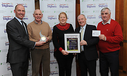 Castlecoote Tidy Towns Co Roscommon  Gold Medal Winners at the North West and West Region Awards ceremony collecting their prize from Minister of State for Rural development Michael Ring TD and Richard Lennon Supervalu.<br />