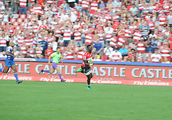 070418 Emirates Airlines Park, Ellis Park, Johannesburg, South Africa. Super Rugby. Lions vs Stormers. Madosh Tambwe shouts on his way to scoring one of four tries.<br />Picture: Karen Sandison/African News Agency (ANA)