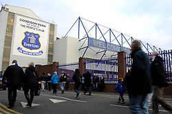 Fans arrive outside Goodison Park - Photo mandatory by-line: Dougie Allward/JMP - Tel: Mobile: 07966 386802 23/11/2013 - SPORT - Football - Liverpool - Merseyside derby - Goodison Park - Everton v Liverpool - Barclays Premier League