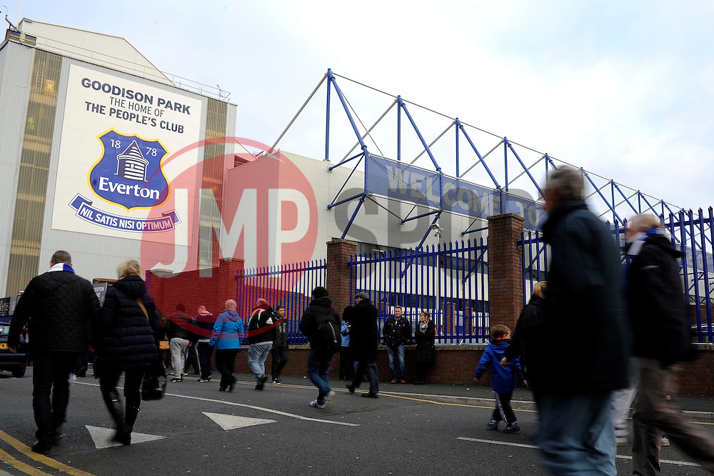 Fans arrive outside Goodison Park - Photo mandatory by-line: Dougie Allward/JMP - Tel: Mobile: 07966 386802 23/11/2013 - SPORT - Football - Liverpool - Merseyside derby - Goodison Park - Everton v Liverpool - Barclays Premier League