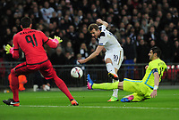 Football - 2016 / 2017 Europa League - Group of Thirty-Two, Second Leg: Tottenham Hotspur [0] vs. KAA Gent [1]<br /> <br /> Harry Kane of Tottenham misses another good Chance at Wembley.<br /> <br /> COLORSPORT/ANDREW COWIE