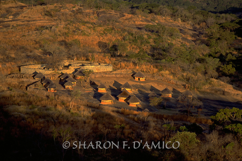 The Great Zimbabwe,The Great Enclosure and Model Village at Dawn