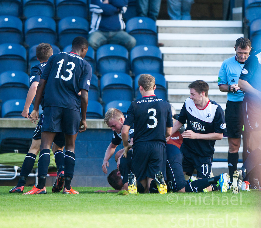 Falkirk's Kris Faulds celebrates wit team mates after scoring their goal.<br /> Raith Rovers 1 v 1 Falkirk, Scottish Championship 28/9/2013.<br /> &copy;Michael Schofield.