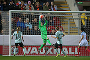 Justien Odeurs (GK) (Belgium) catches the ball from an England corner during the Euro 2017 qualifier between England Ladies and Belgium Ladies at the New York Stadium, Rotherham, England on 8 April 2016. Photo by Mark P Doherty.