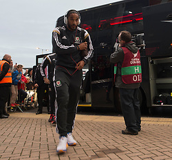 Wales Ashley Williams walks into the Cardiff City Stadium.  - Photo mandatory by-line: Alex James/JMP - Mobile: 07966 386802 - 13/10/2014 - SPORT - Football - Cardiff - Cardiff City Stadium - Wales v Cyprus - EURO 2016 Qualifiers