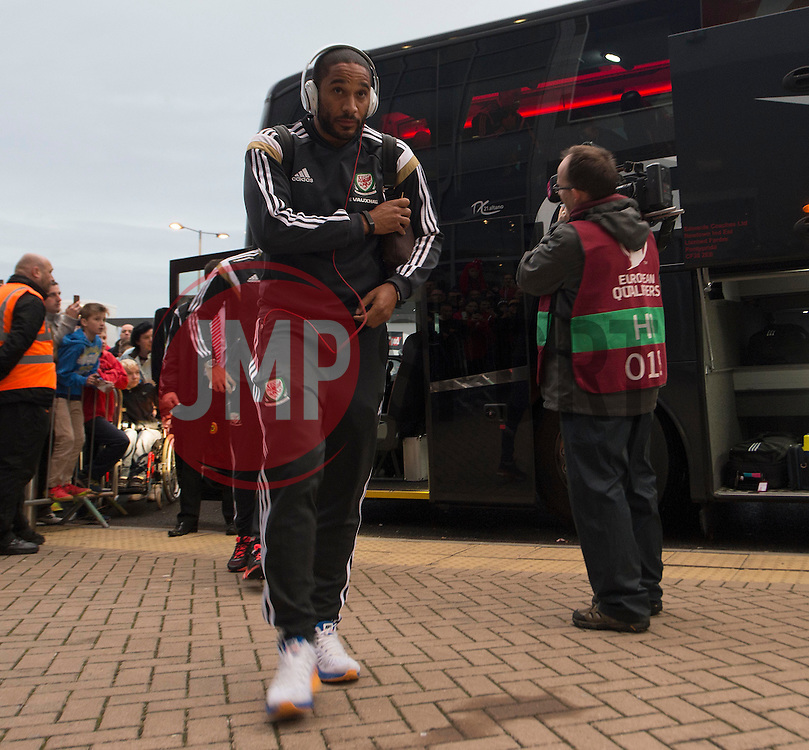 Wales Ashley Williams walks into the Cardiff City Stadium.  - Photo mandatory by-line: Alex James/JMP - Mobile: 07966 386802 - 13/10/2014 - SPORT - Football - Cardiff - Cardiff City Stadium - Wales v Cyprus - EURO 2016 Qualifiers