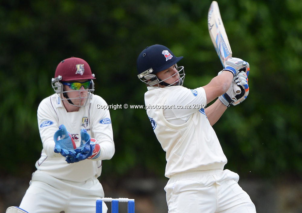 Craig Cachopa batting for Auckland. Plunket Shield Cricket, Auckland Aces v Northern Knights at Eden Park outer oval. Sunday 11 November 2012. Photo: Andrew Cornaga/Photosport.co.nz