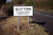 Village sign Please Drive Carefully, Sutton, Suffolk, England