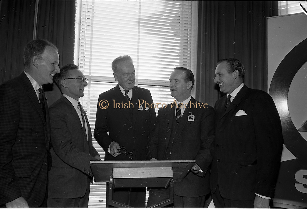 01/04/1963<br /> 04/01/1963<br /> 01 April 1963<br /> SPAR reception at the Shelbourne Hotel, Dublin. The reception announced the formation of SPAR (Ireland) Ltd. comprised of the Irish Wholesale Grocers Firms: Amalgamated Wholesalers Ltd., (P. Barrett and Sons Ltd., Dublin; D. Tyndall and Sons Ltd., Dublin and McNulty and O'Reilly Ltd., Bray); Munster United Merchants Ltd., (Maurice P. Daly Ltd., Cork and The Jamaica Banana Co. Cork) and Messrs Looney and Co. Ltd., Limerick.  Picture shows (l-r): Mr. Harold Cudmore, Director Munster United Merchants Cork; Mr. D. Tyndall, Chairman Amalgamated Wholesalers Ltd., Dublin and Mr. C.H. Wilms Floet, Executive Director of International SPAR, Amsterdam; Mr. M.J. O'Reilly, Director Amalgamated Wholesalers Ltd., Dublin and Mr. Richard L. Read, Managing Director of SPAR (Britain) Ltd. at the reception.