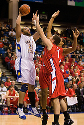 February 27, 2010; San Jose, CA, USA;  San Jose State Spartans forward C.J. Webster (22) shoots against the Fresno State Bulldogs during the first half at The Event Center.  San Jose State defeated Fresno State 72-45.