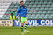 Forest Green Rovers Scott Laird(3) warming up during the EFL Sky Bet League 2 match between Yeovil Town and Forest Green Rovers at Huish Park, Yeovil, England on 24 April 2018. Picture by Shane Healey.