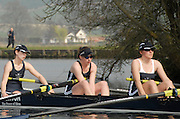 Henley, GREAT BRITAIN, 2011 Henley Boat Races, Temple Island, Henley Reach, River Thames,  England  Sunday  27/03/2011.  OUWBC vs CUWBC. The Osiris crew are despondant after the Umpire's decision that  OUWBC Osiris were disqualified, following the clash of blades, earlier in the race.   [Mandatory Credit, Karon Phillips /Intersport-images]