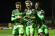 Forest Green Rovers Dan Bradshaw(38) scores a goal 3-0 and celebrates with Forest Green Rovers Owen Orford(34) and Forest Green Rovers Daniel Ogunleye(35) during the FA Youth Cup match between Forest Green Rovers and Helston Athletic at the New Lawn, Forest Green, United Kingdom on 29 October 2019.