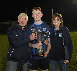 Westport captain Niall McManamon with his parents after winning the u21 final at McHale park.<br /> Pic Conor McKeown