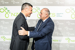 Matjaz Nemec and Radenko Mijatovic, president of NZS during Traditional New Year party of of the Slovenian Football Association - NZS, on December 18, 2017 in Kongresni center, Brdo pri Kranju, Slovenia. Photo by Vid Ponikvar / Sportida