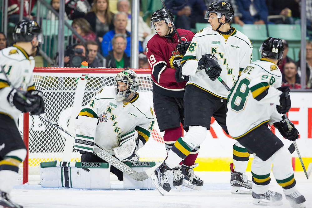 Action from the opening game at the 2016 MasterCard Memorial Cup in Red Deer, AB on Friday May 20, 2016. Photo by Rob Wallator/CHL Images