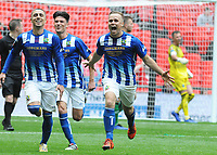 Football - 2019 Buildbase FA Vase Final - Chertsey Town vs. Cray Valley Paper Mills<br /> <br /> Jake Baxter of Chertsey celebrates scoring his penalty goal with Lubomir Guentchev, at Wembley Stadium.<br /> <br /> COLORSPORT/ANDREW COWIE
