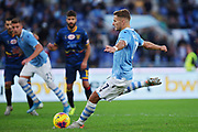 Ciro Immobile of Lazio scores by penalty during the Italian championship Serie A football match between SS Lazio and US Lecce Sunday, Nov. 10, 2019 at the Stadio Olimpico in Rome. SS Lazio defeated US Lecce 4-2. (Federico Proietti/Image of Sport)