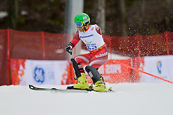 Christophe Brodard competing in the Alpine Skiing Super Combined Slalom at the 2014 Sochi Winter Paralympic Games, Russia