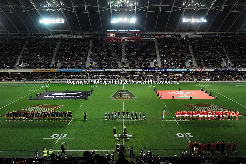 A general view of the All Blacks and Wales, during the International Test match between the New Zealand All Blacks and Wales at Forsyth Barr Stadium on June 25, 2016 in Dunedin, New Zealand. Credit: Joe Allison / www.Photosport.nz