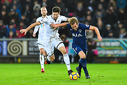 Harry Kane of Tottenham Hotspur holds off the challenge from Federico Fernandez of Swansea City - Mandatory by-line: Craig Thomas/JMP - 02/01/2018 - FOOTBALL - Liberty Stadium - Swansea, England - Swansea City v Tottenham Hotspur - Premier League