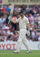 Steven Smith of Australia acknowledges his 50 during the 5th Investec Ashes Test Match match at the Kia Oval, London<br /> Picture by Alan Stanford/Focus Images Ltd +44 7915 056117<br /> 21/08/2015