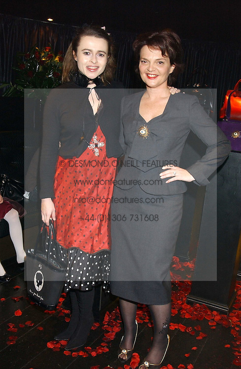 Left to right, actress HELENA BONHAM-CARTER and LULU GUINNESS  at a preview of Lulu Guinness's new Handbag Collection ' Couture' held at Aviva, Baglioni Hotel, 60 Hyde Park Gate, London SW7 on 15th February 2006.<br /><br />NON EXCLUSIVE - WORLD RIGHTS