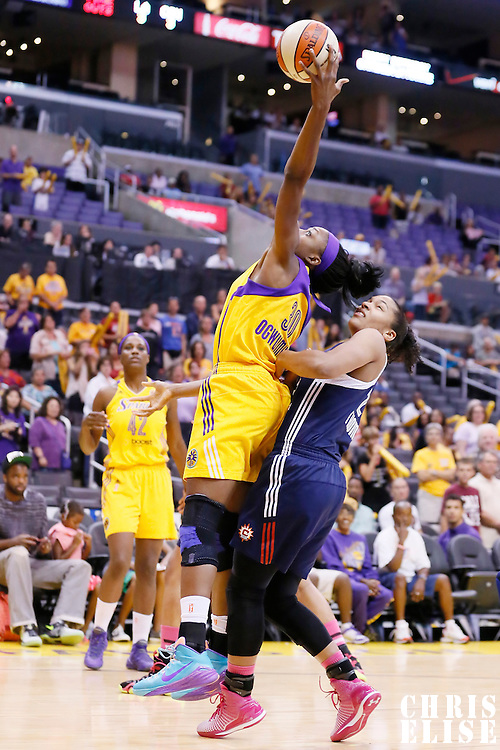 03 August 2014: Los Angeles Sparks forward Nneka Ogwumike (30) grabs a rebound during the Los Angeles Sparks 70-69 victory over the Connecticut Sun, at the Staples Center, Los Angeles, California, USA.