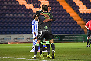 Forest Green Rovers Midfielder Reece Brown (10) celebrates scoring a goal (2-0) during the EFL Sky Bet League 2 match between Colchester United and Forest Green Rovers at the JobServe Community Stadium, Colchester, England on 12 March 2019.