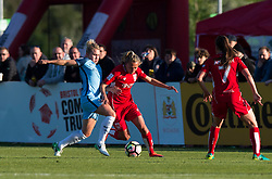Izzy Christiansen of Manchester City Women competes for the ball with Claire Emslie of Bristol City Women - Mandatory by-line: Paul Knight/JMP - 09/05/2017 - FOOTBALL - Stoke Gifford Stadium - Bristol, England - Bristol City Women v Manchester City Women - FA Women's Super League Spring Series