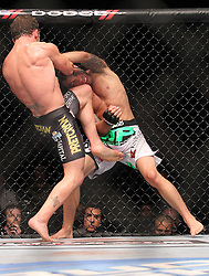 Atlantic City, NJ - June 22, 2012: Gray Maynard (Black trunks) and Clay Guida (White trunks) at UFC on FX 4 at Ovation Hall at Revel Resort & Casino in Atlantic City, New Jersey.