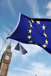 UK ENGLAND LONDON 25MAR17 - EU and Union Jack flags fly at the Houses of Parliament as thousands of protesters take part in the March for Europe in central London.<br /> <br /> jre/Photo by Jiri Rezac<br /> <br /> © Jiri Rezac 2017