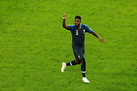 SAINT PETERSBURG, RUSSIA - JULY 10: Samuel Umtiti of France national team celebrates his goal during the 2018 FIFA World Cup Russia Semi Final match between France and Belgium at Saint Petersburg Stadium on July 10, 2018 in Saint Petersburg, Russia. MB Media
