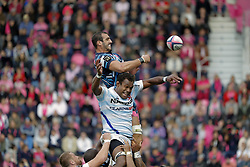 September 30, 2018 - Paris, Ile de France, FRANCE - Yoann Maestri (Stade Francais Paris) se bat contre Leone Nakarawa (Racing 92) pour recuperation de ball sur touche (Credit Image: © Panoramic via ZUMA Press)