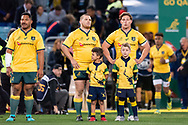 SYDNEY, NSW - AUGUST 18: Australian team stand for the national anthem at the Bledisloe Cup rugby test match between Australia and New Zealand at ANZ Stadium in Sydney on August 18, 2018. (Photo by Speed Media/Icon Sportswire)