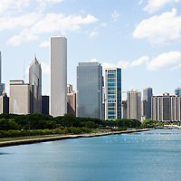 Chicago lakefront skyline along Lake Michigan. Photo is high resolution, was taken in May 2012, and includes some of Chicago's most recognizable buildings and skyscrapers.