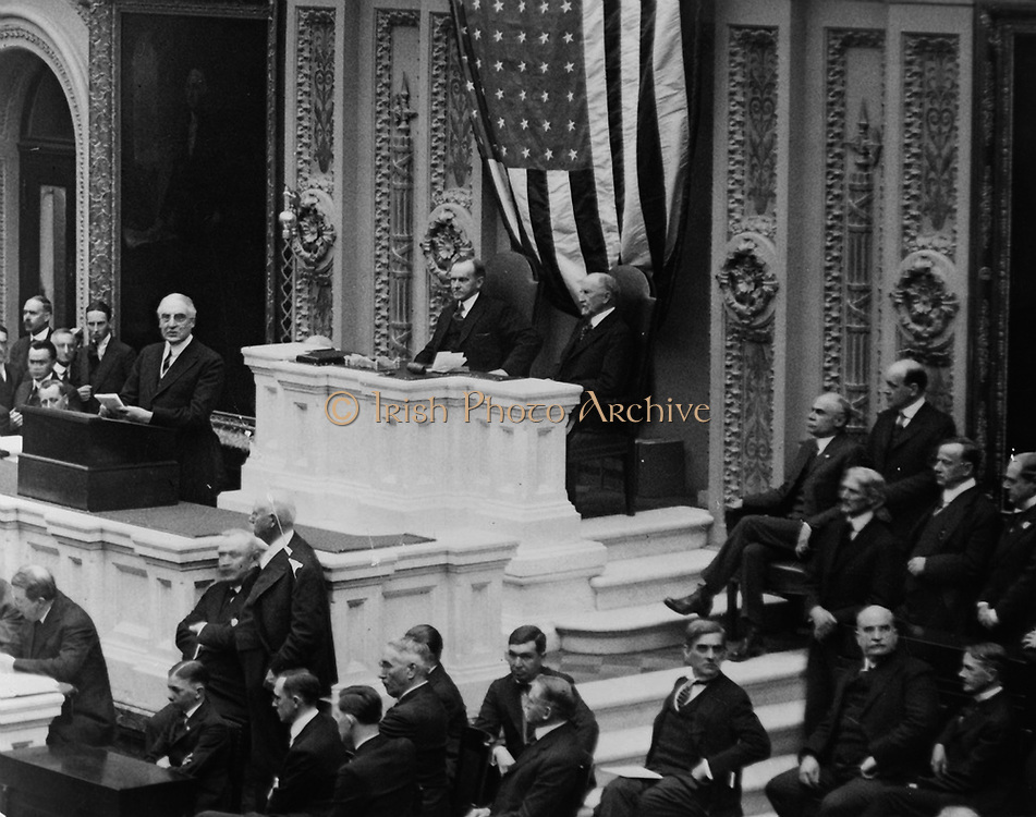 Warren Harding (1885-1923) 29th President of the United States of America , 1921-1923.  Harding addressing Congress in  1922, Vice-President Calvin Coolidge in the Chair.  Coolidge became President  on Harding's death on 2 August 1923.