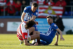 Lewis Hawkins of Hartlepool United tangles with John Marquis of Doncaster Rovers - Mandatory by-line: Robbie Stephenson/JMP - 06/05/2017 - FOOTBALL - The Northern Gas and Power Stadium (Victoria Park) - Hartlepool, England - Hartlepool United v Doncaster Rovers - Sky Bet League Two