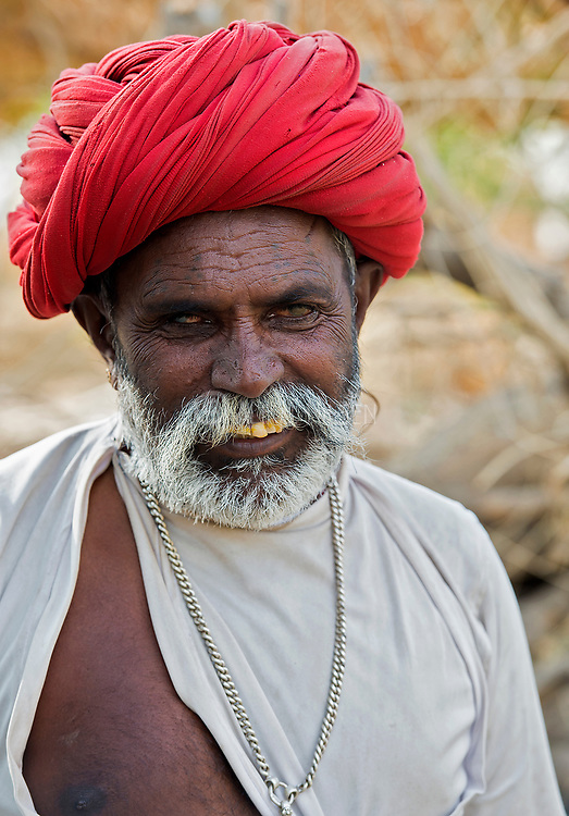 Blind man with turban. Chanoud, Rajasthan, India.