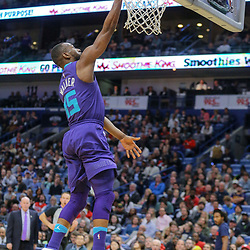Mar 13, 2018; New Orleans, LA, USA; Charlotte Hornets guard Kemba Walker (15) shoots against the New Orleans Pelicans during the second quarter of a game at the Smoothie King Center. Mandatory Credit: Derick E. Hingle-USA TODAY Sports