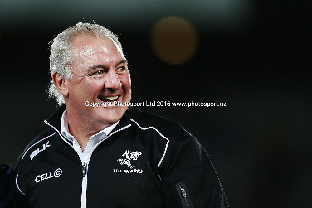 Head Coach Gary Gold of the Sharks looks on. Super Rugby match, Blues v Sharks at Eden Park, Auckland, New Zealand. 16 April 2016. Photo: Anthony Au-Yeung / www.photosport.nz