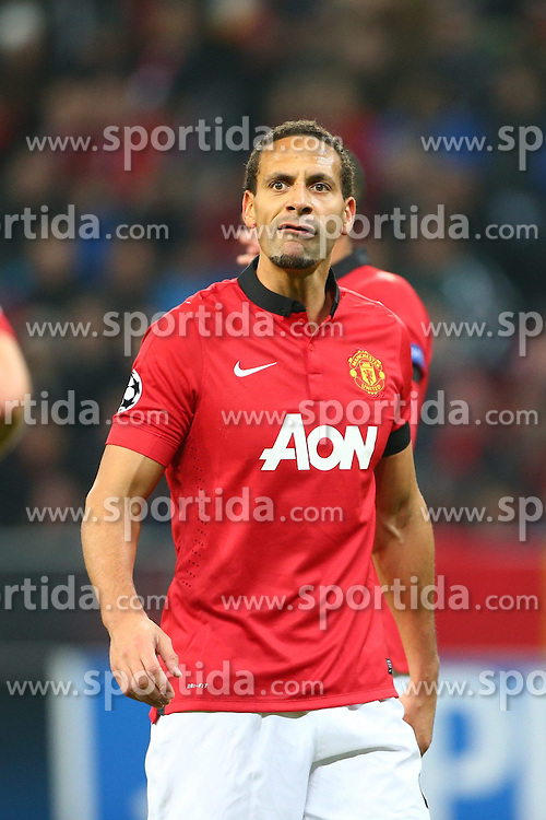 27.11.2013, BayArena, Leverkusen, GER, UEFA CL, Bayer Leverkusen vs Manchester United, Gruppe A, im Bild Rio Ferdinand (Manchester United), Emotionen, Freisteller // during UEFA Champions League group A match between Bayer Leverkusen vs Manchester United at the BayArena in Leverkusen, Germany on 2013/11/28. EXPA Pictures &copy; 2013, PhotoCredit: EXPA/ Eibner-Pressefoto/ Neis<br /> <br /> *****ATTENTION - OUT of GER*****